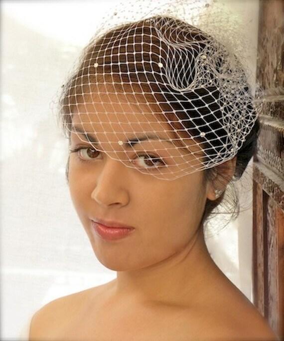 Rhinestone Birdcage Veil, Wedding, Bridal, Bird Cage Veil, Rhinestones, Ivory, White, Silver Plated Comb, ifanhour, Custom, Veil