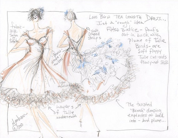 Wedding Dress Sketch, Your Custom Design with Fabric Suggestions