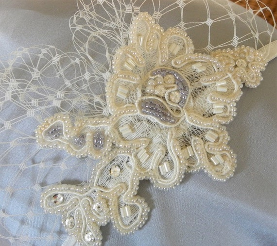 Bridal Headband, Wedding Hairpiece, Beaded, Lace, Something Blue, Ivory, Bridal Accessory, Hair