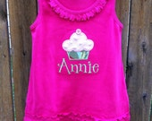 Cupcake Appliqued Tank Dress Personalized with Name