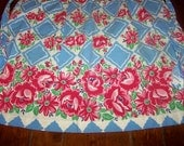 Adorable Vintage Half Apron, Blue with Red Roses, 1950s, All Cotton, Perfect