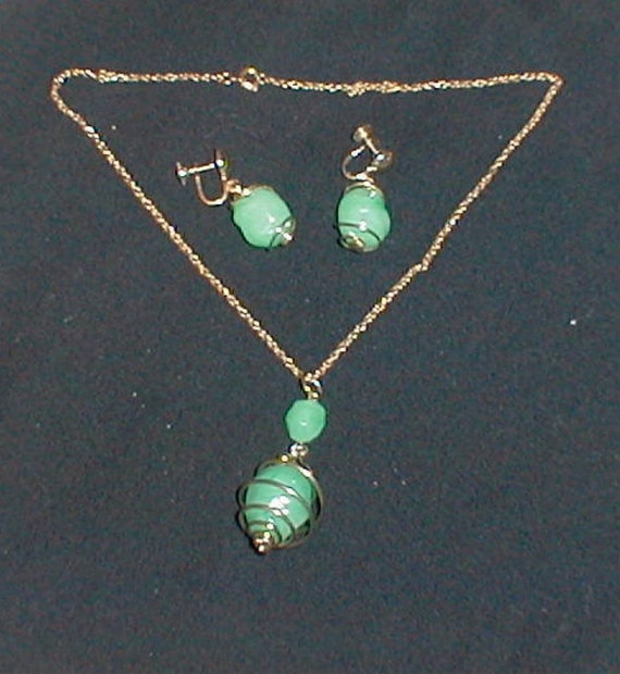 price reduced  Signed Coro JADE EARRINGS, NECKLACE, Vintage 1950s