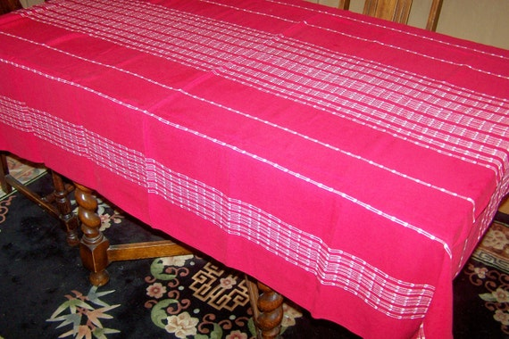 """Reserved for debnew Vintage Red Picnic Tablecloth with White Stripes, 1960's, Perfect, 60"""" x 80"""""""