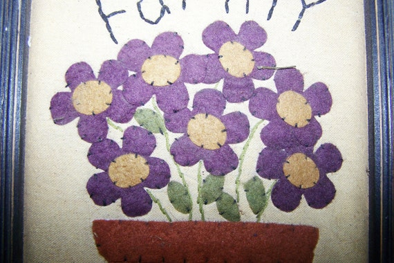 "Vintage FELTED FLOWERS and POT, Embroidered with Family, 8.5"" x 10"""