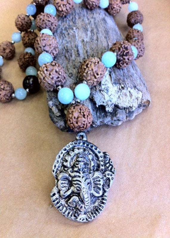 Ganesh Rudraksha Bead Mala Necklace embraced with Amazonite