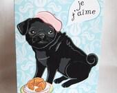 Paris Pug in Love Greeting Card