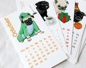 Petite Pug Mug Calendar 2012 - Eco-friendly Linen Stock - 2.5 x 4.25 inches