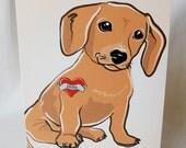 Custom Doxie Tattoo Greeting Card