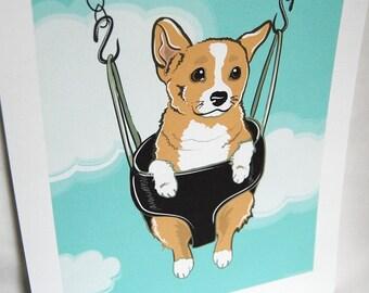 Swinging Corgi - Eco-friendly 7x9 Print