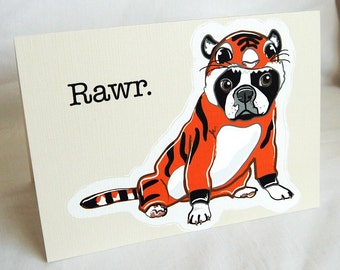 Lil Tiger Boston Terrier Greeting Card