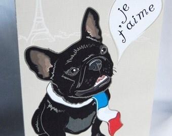 French Bulldog in Love Greeting Card