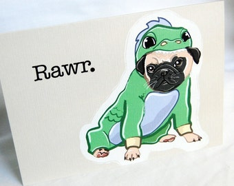 Lil Dragon Pug Greeting Card