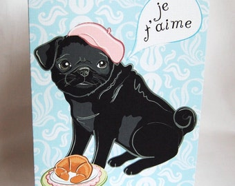 Paris Pug in Love Greeting Card