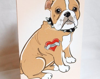 Custom Bulldog Tattoo Greeting Card