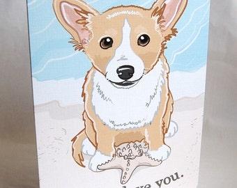 Beach Corgi Greeting Card