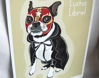 Boston Terrier Luchador - Eco-Friendly 8x10 Print