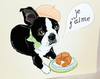 Boston Terrier in Love Greeting Card