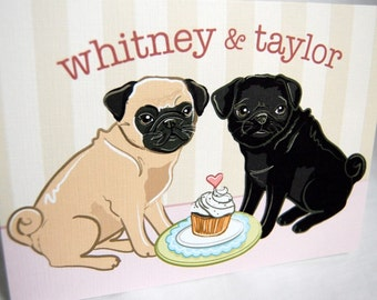 Pugs in Love Greeting Card - Customized with Your Names