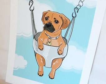 Swinging Puggle - Eco-friendly 7x9 Print