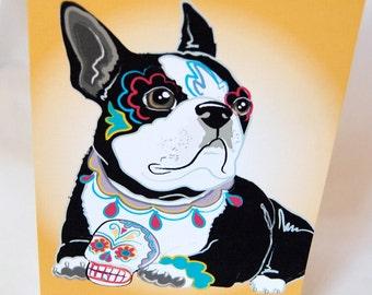 Muertos Boston Terrier Greeting Card