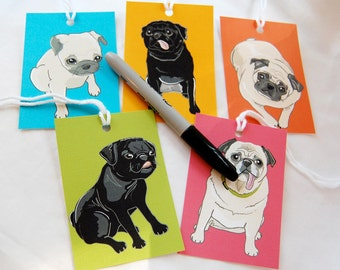 Jumbo Pug Gift Tags - Set of 5