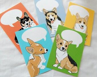 Convo Corgi Flat Notecards - Eco-friendly Set of 5 - Jumbo Size