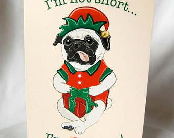 Pug Elf Greeting Card