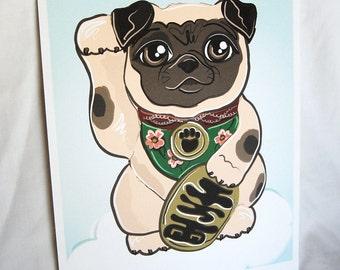 Lucky Pug - Eco-Friendly 8x10 Print