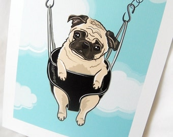 Swinging Pug - 7x9 Eco-friendly Print