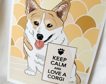 Keep Calm Corgi with Scaled Background - 8x10 Eco-friendly Print