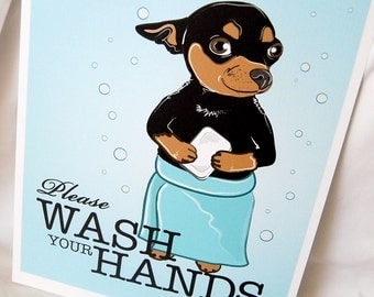 Wash Your Hands Black Chihuahua - 8x10 Eco-friendly Print