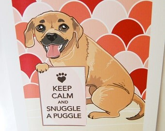 Keep Calm Puggle with Ruby/Pink Scaled Background - 7x9 Eco-friendly Print