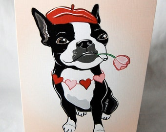 Romantic Boston Terrier Greeting Card