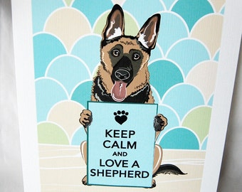 Keep Calm German Shepherd with Scaled Background - 7x9 Eco-friendly Print