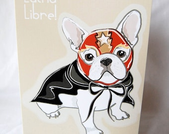 Luchador Frenchie Greeting Card
