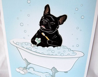Bathtime French Bulldog - Eco-Friendly 8x10 Print