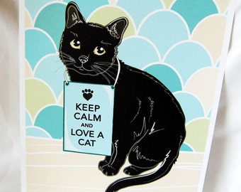 Keep Calm Black Cat with Scaled Background - 8x10 Eco-friendly Print