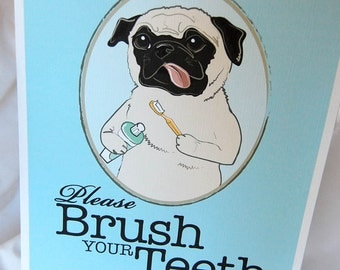 Brush Your Teeth Fawn Pug - 8x10 Eco-friendly Print