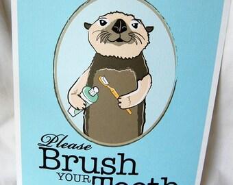 Brush Your Teeth Otter - 8x10 Eco-friendly Print
