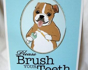Brush Your Teeth Bulldog - 8x10 Eco-friendly Print