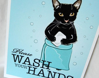Wash Your Hands Black Cat - 8x10 Eco-friendly Print