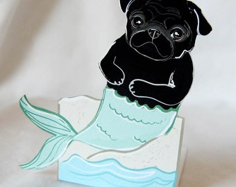 Black MerPug - Desk Decor Paper Doll