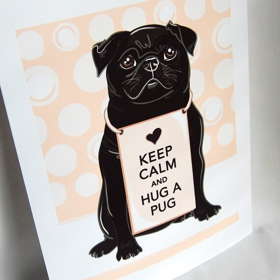 Keep Calm Pug on Melon Background - 7x9 Print
