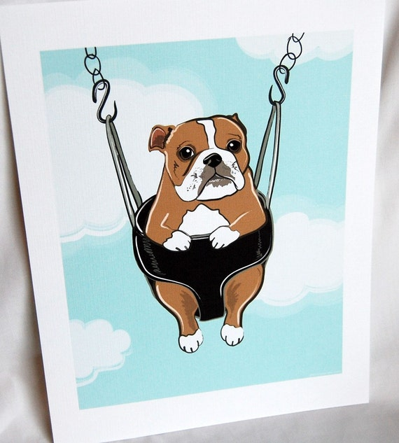 Swinging Bulldog - Eco-friendly 7x9 Print