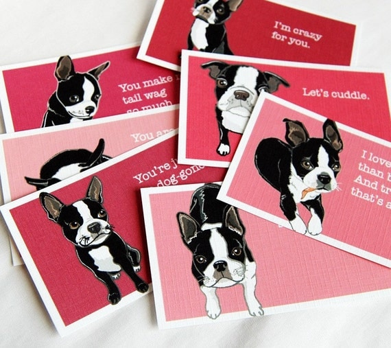 Boston Terrier Love Cards - Mini Eco-friendly Set of 7