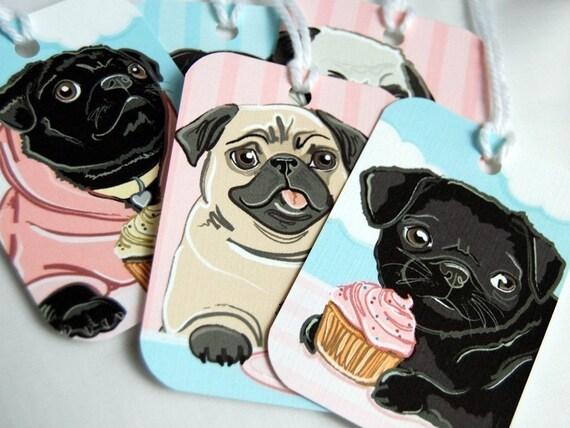 Cupcake Pug Gift Tags - Set of 5