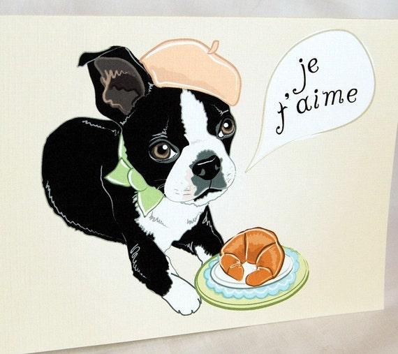 Boston Terrier in Love Greeting Card