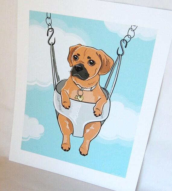 Swinging Puggle - Eco-friendly 7x9 Print