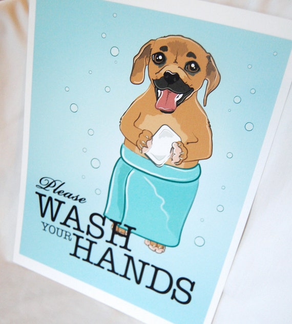 Puggle Wash Your Hands Print - Eco-Friendly 8x10 Size