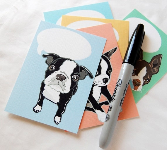Convo Boston Terrier Flat Notecards - Eco-friendly Set of 5 - Jumbo Size